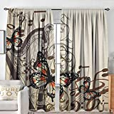 Petpany Blackout Curtains for Bedroom Butterflies,Harp Ornament and Butterflies Classic Musical Instrument Concert Theme, Cream Orange Black,Darkening and Thermal Insulating Draperies 120'x96'