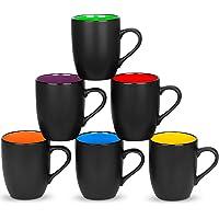 6 Pack Large Coffee Mug Set 16 Ounces, DeeCoo Matte Black Porcelain Mug - DeeCoo Large-sized Ceramic Restaurant Drinking…