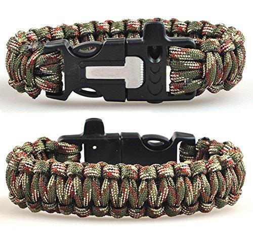 Army Camouflage gr/ün CC CD Outdoor Survival Armband Whistle Gear Flint Fire Starter Armband