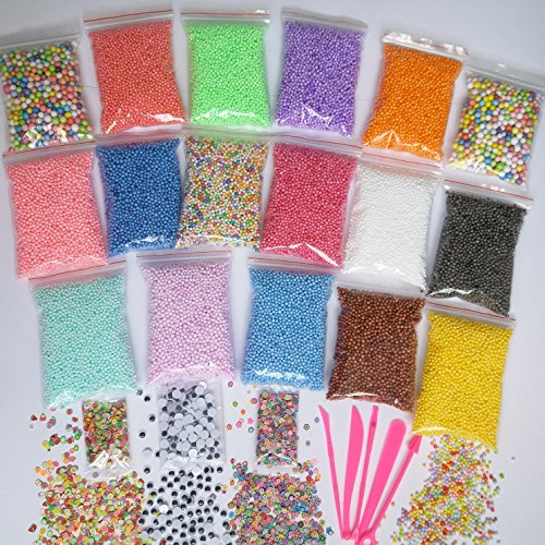 - Colorful Styrofoam Foam Balls for Slime 21 Pack Beads Mini Polystyrene Craft, DIY Decorative, Kid Arts and Crafts, Wedding Party, Homemade Decoration 0.08-0.32inch(Approx 97105pcs) Slime Tool Kit Free