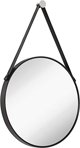 Hamilton Hills Hanging Black Leather Strap Metal Circular Wall Mirror with Chrome Accents Glass Panel Rounded Circle Design Vanity Mirror 24 Round