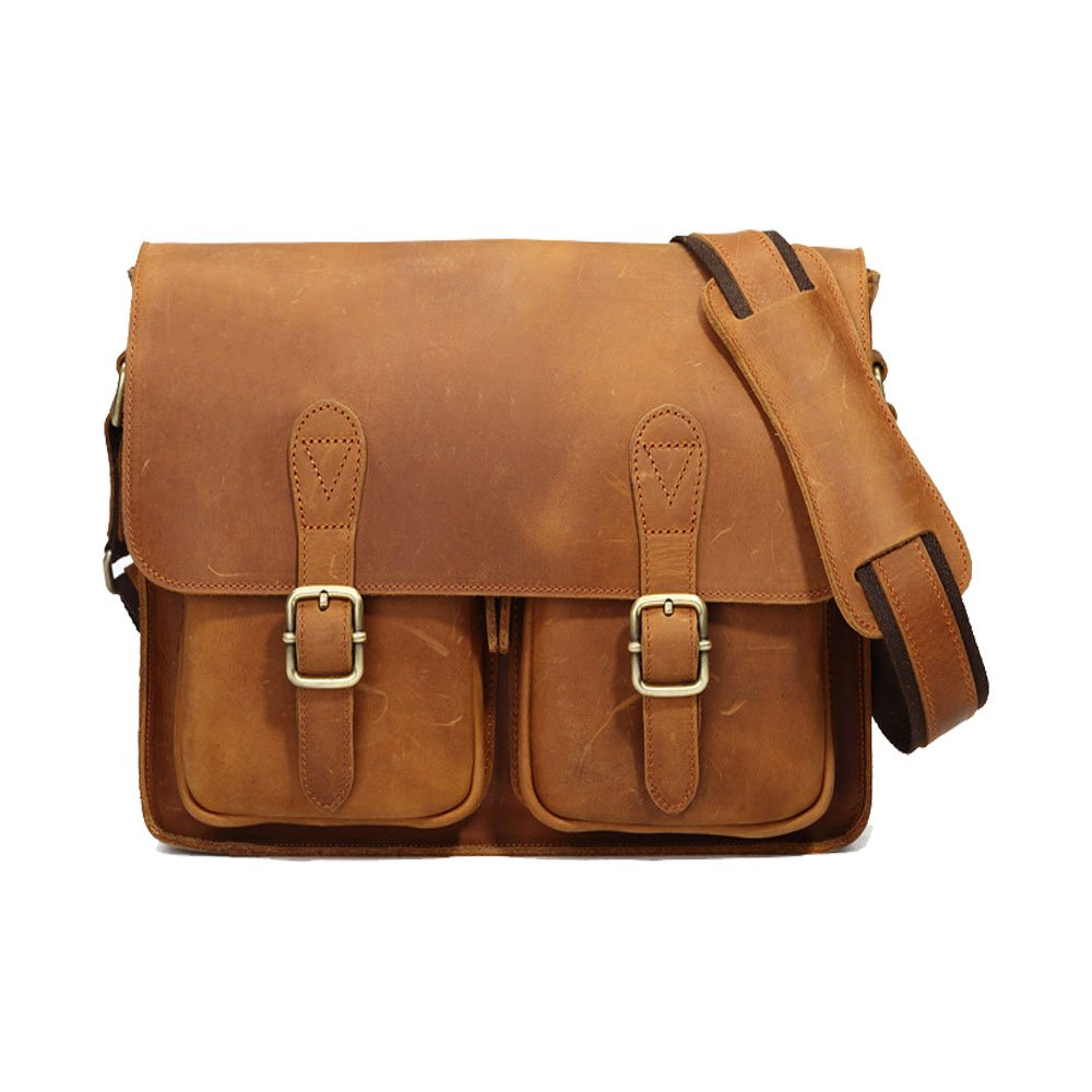 RABILTY Simple Retro Zipper Outdoor Canvas Shoulder Bag Messenger Bag Color Brown Color : Khaki