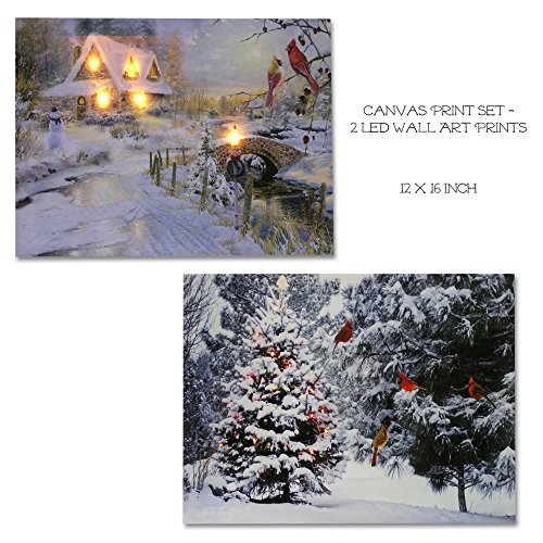 Winter Scene Canvas Print Set - 2 LED Wall Art Prints with Snow and Cardinals - Lighted Wall Art for (Christmas Tree Snow Pictures)
