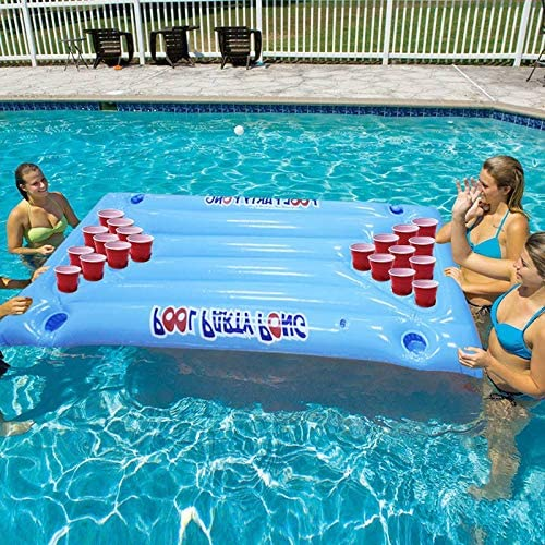 Ohyoulive Inflatable Cup Hole Floating Row PVC Inflatable Beer Pong Table Mattress Lounge Pool Float 24 Cup Holder for Summer Mattress Ice Bucket Cooler