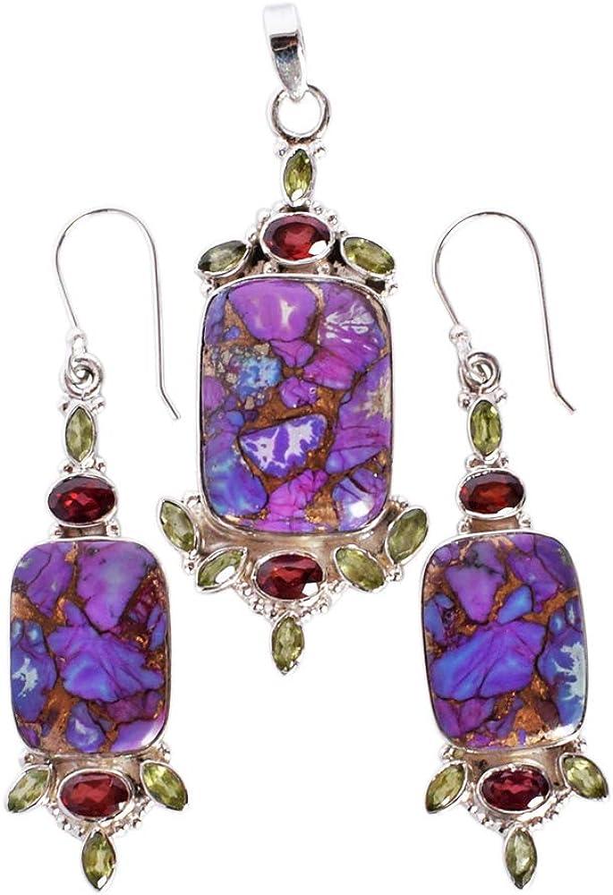 boho pendant copper Blue Topaz pendant Turquoise gemstone pendant 925 sterling silver boho turquoise Mohave