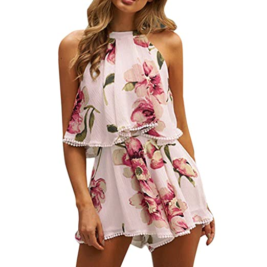 6d813a8633c ManxiVoo Clearance Short Pants Set! Womens Holiday Tassels Playsuit  Jumpsuit Summer Floral Blouse Top Shorts