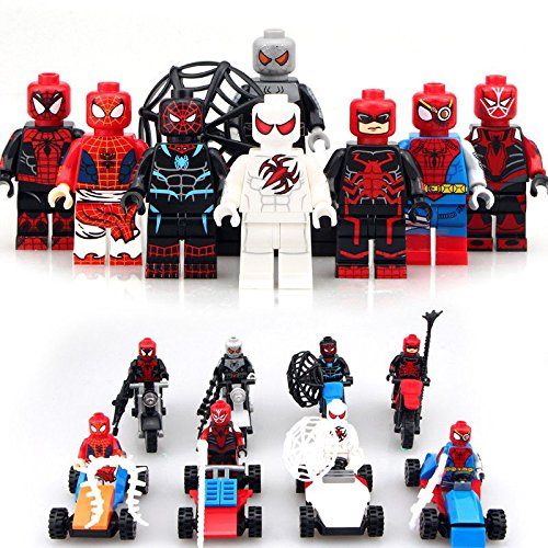 Shalleen 8pcs/set Spider With Car Motorcycle Building Blocks Minifigures Bricks Toy