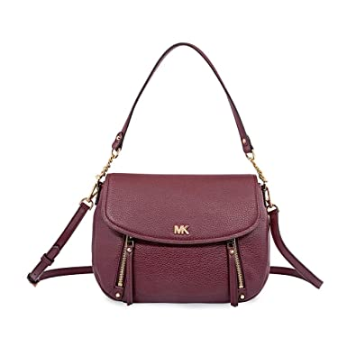 883121f6dc Michael Kors Evie Medium Leather Shoulder Bag - Oxblood  Handbags   Amazon.com