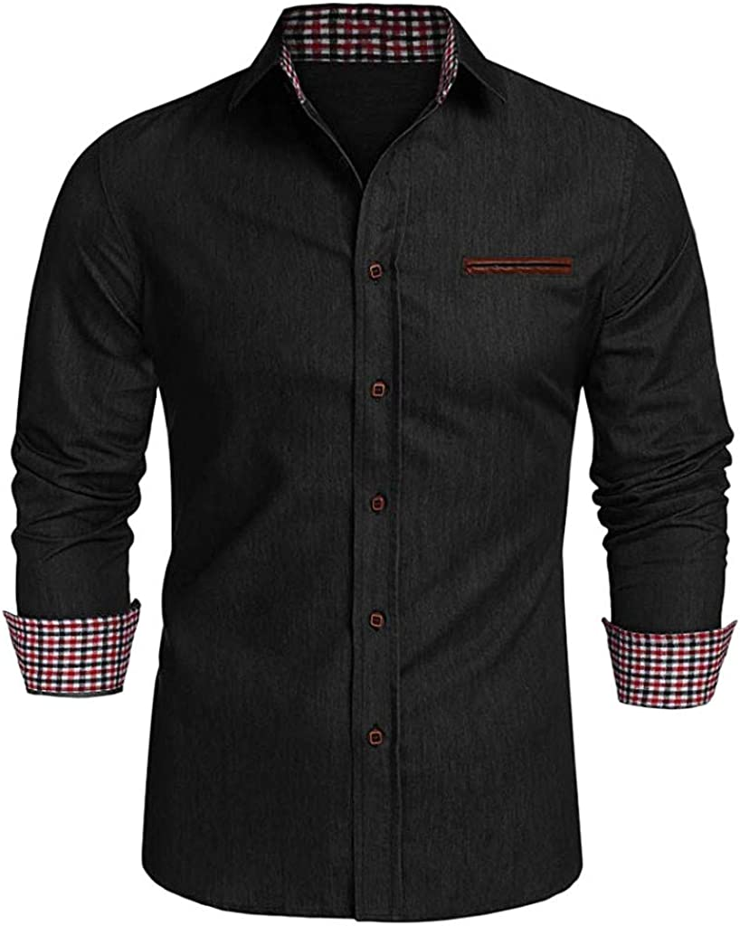 VOWUA Shirts for Men Casual Button Trun-Down Collar Denim Business Long Sleeve Shirts Tops Blouse for Office