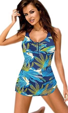 5a4c57ba63 Ladies Plus Size Swimwear Navy Blue Palm Print Tummy Covering Swimming  Costume Faux Tankini 14 Sc 1 St Amazon UK