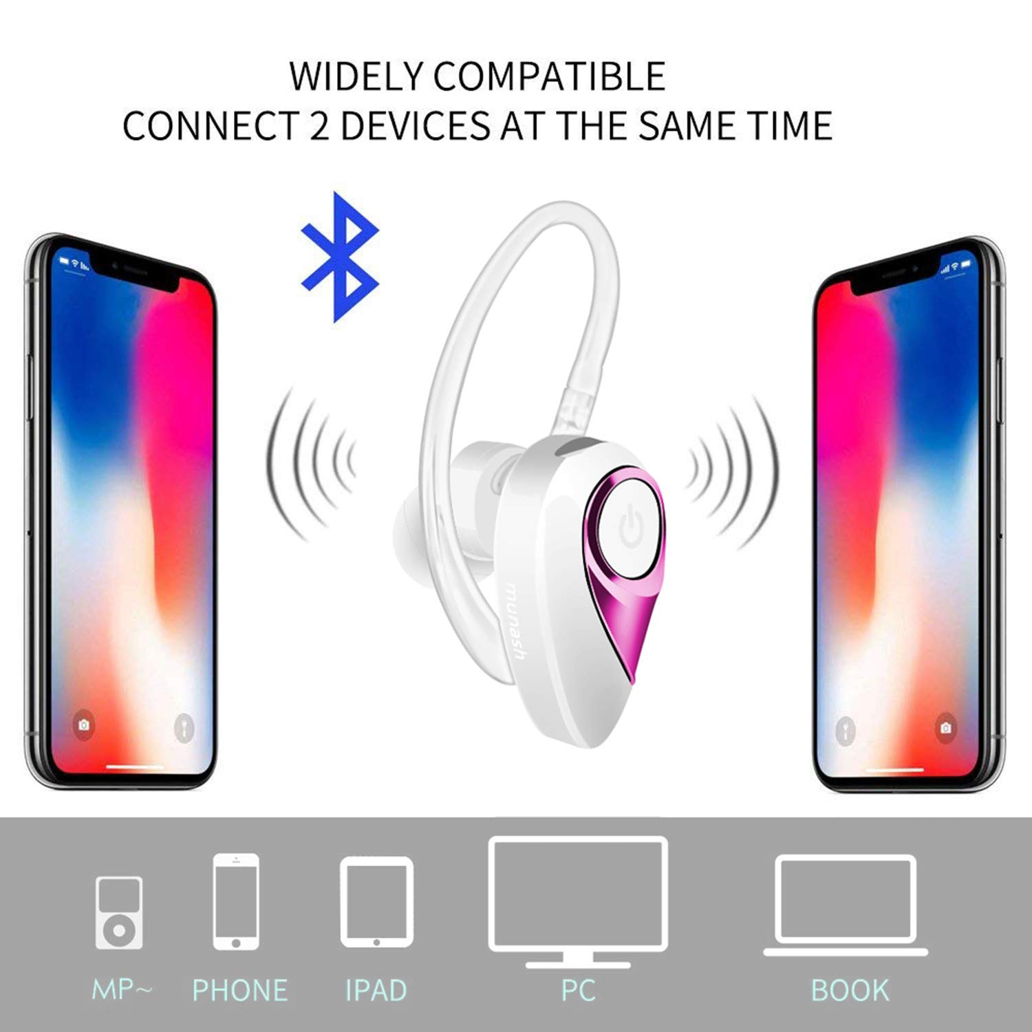 Bluetooth Headset, Munash V4 2 Wireless Earpiece with Snug Fit Design, DSP  Noise Cancelling, 8H Playtime, HD Sound Earbud for iPhone Android Cell