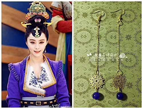- Foot home? ?Wu Mei Niang legendary Fan Bingbing purple chalcedony earrings earrings retro classic film and television costume S