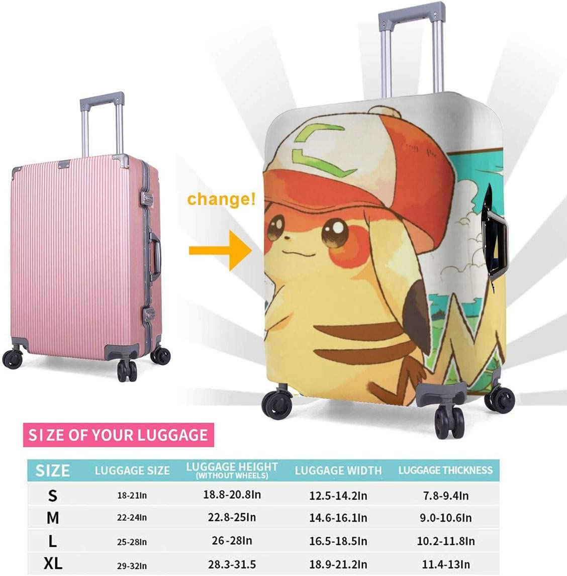 Multiple Sizes Suitcase Protector Pikachu Stretch Elastic Travel Luggage Protector