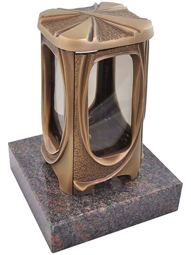 Kunst-Art-Köhl Grablaterne 622 aus massiver Bronze fertigmontiert auf Einem Granitsockel (Himalaya)