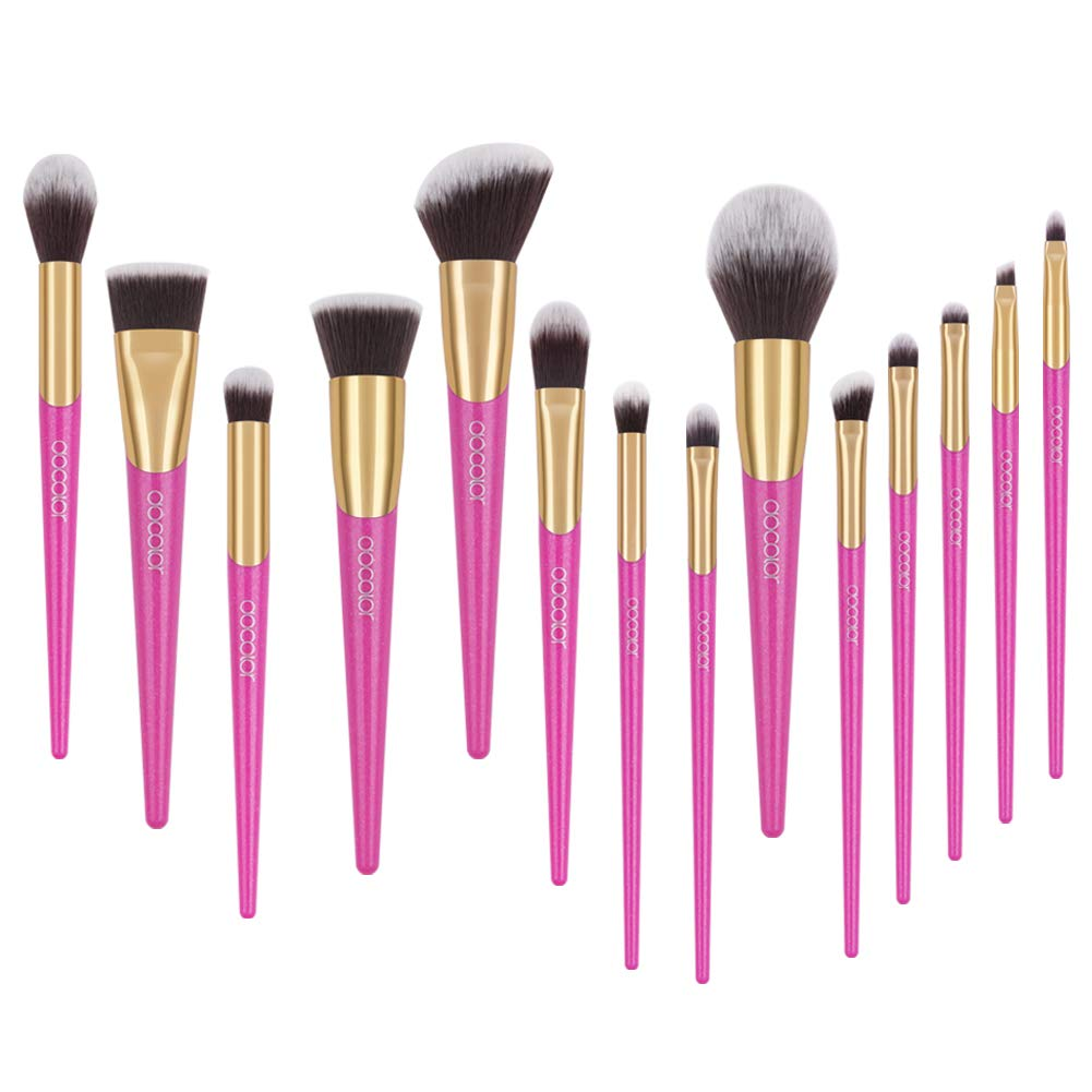 Docolor V-style Makeup Brush Set, 14 Pieces Professional Makeup Brushes Face Powder Foundation Blending Contour Eye Shadow Cosmetics Make Up Brushes Kit
