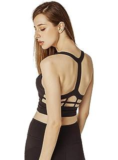 KSUA Womens High Impact Support Sports Bra T Back Wirefree Padded Yoga Sports Bra Activewear Workout Running Gym Bras