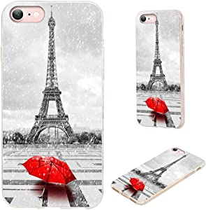 iPhone 8 Case,iPhone 7 Case,iPhone SE 2020 Case,VoMotec Shockproof Slim Flexible Soft TPU Protective Skin Cover for Apple iPhone 7/8/SE 2020 (4.7 inch),Paris Eiffel Tower in Rain with Red Umbrella