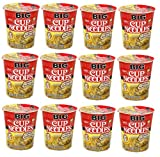 Nissin BIG CUP Noodle Microwavable and Spoonable Noodles & Soup CHICKEN Flavor with Og Trans FAT for Best in Ramen Instant Noddle Soup- 12 Pack of 2.82 Oz Cups