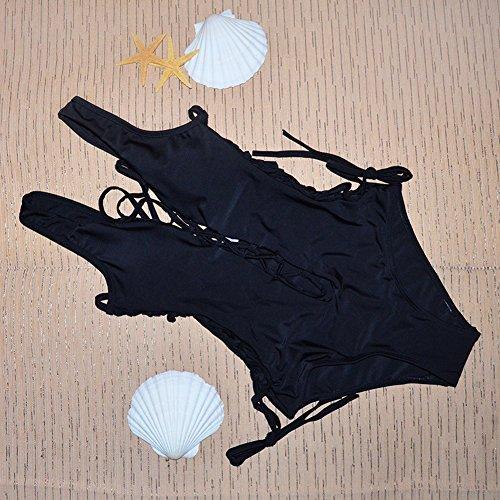 Lady exy Monikini One Piece Bikini Swimsuit Summer Beach Wear Black,L by UPS by CFR (Image #1)