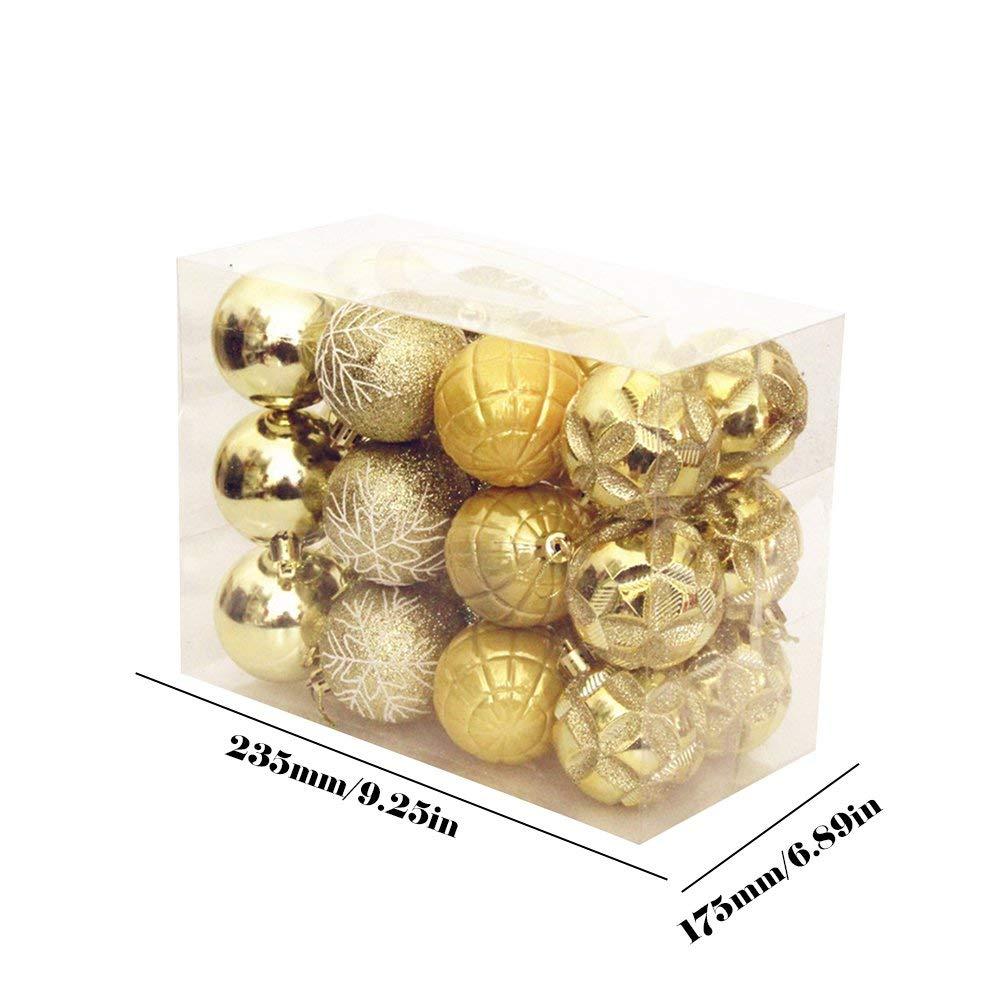 Yaoaomitn Palline di Natale Forniture di Natale Decorazioni Natalizie Ornamenti Moda Materiali Professionali Atmosfera di Vacanza Durevole Oro