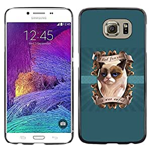 Planetar® ( I had Fun Once Funny Cat ) Samsung Galaxy S6 / SM-G920 / SM-G920A / SM-G920T / SM-G920F / SM-G920I Fundas Cover Cubre Hard Case Cover