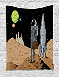 asddcdfdd Astronaut Tapestry, Business Woman in Space Briefcase Buying and Selling on Alien Planet, Wall Hanging for Bedroom Living Room Dorm, 60 W X 80 L Inches, Black Brown Multicolor