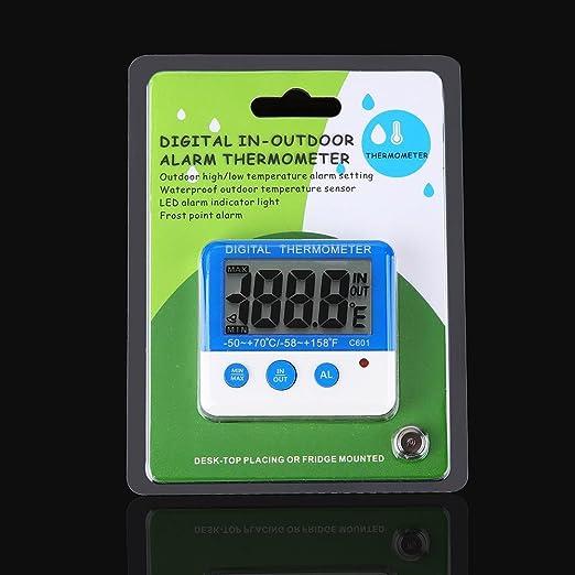 Gowind6 - Termómetro Digital con Pantalla LCD, higrómetro, Soporte para refrigerador, Alarma y medidor de Humedad
