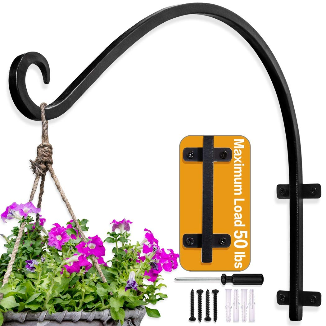 Hanging Plant Bracket Plant Hangers Outdoor 16 Inch Black Thicker More Durable Rust Resistant Heavy Duty Plant Hooks Amazon In Garden Outdoors