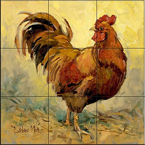 Ceramic Tile Mural - Rooster Rules I- by Barbara Mock - Kitchen backsplash/Bathroom - Rooster Tile Wall