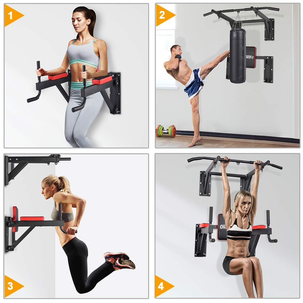 OneTwoFit Multifunctional Wall Mounted Pull Up Bar Power Tower Set Chin Up Station Home Gym Workout Strength Training Equipment Fitness Dip Stand Supports to 330 Lbs OT076 by ONETWOFIT (Image #4)