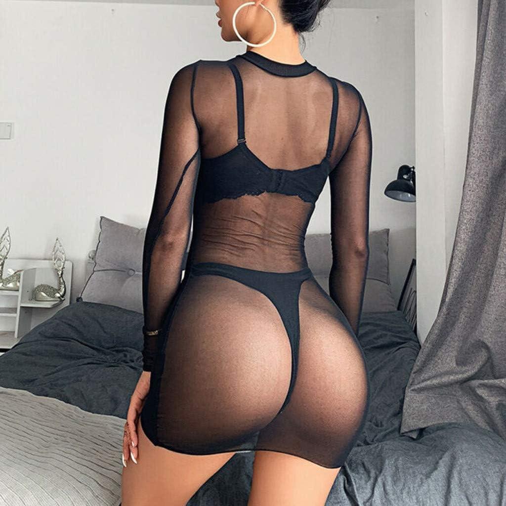 ZOMUSAR Womens Sheer Mesh See-Through Long Sleeve Crop Tops Casual Clubwear Mini Dress