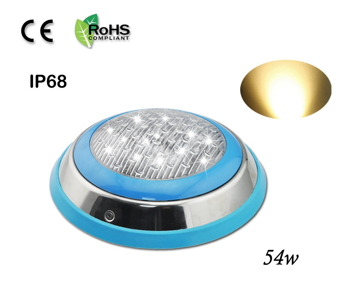 COOLWEST LED Underwater Swimming Pool Light Stainless Steel/Surface Mount,12V AC/DC Waterproof IP68,54W Warm White