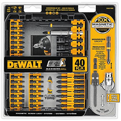 Screwdriver Bit Kit - DEWALT DWA2T40IR IMPACT READY FlexTorq Screw Driving Set, 40-Piece