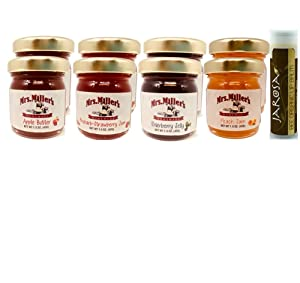 Mrs. Miller's Amish Mini COUNTRY Sampler Variety 1.5 oz. - Pack of 8 (2 of ea): Apple Butter, Strawberry Rhubarb Jam, Elderberry Jelly & Peach Jam with a Jarosa Chocolate Lip Balm by Jarosa Gifts