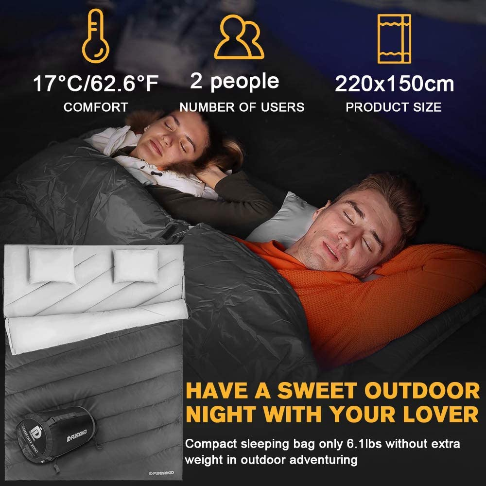 kompakt f/ür Camping f/ür Erwachsene Rucksackreisen FUNDANGO Doppelschlafsack f/ür 2 Personen wasserdicht /Übergr/ö/ße XL mit Tragetasche und 2 Kissen warm warm Wandern