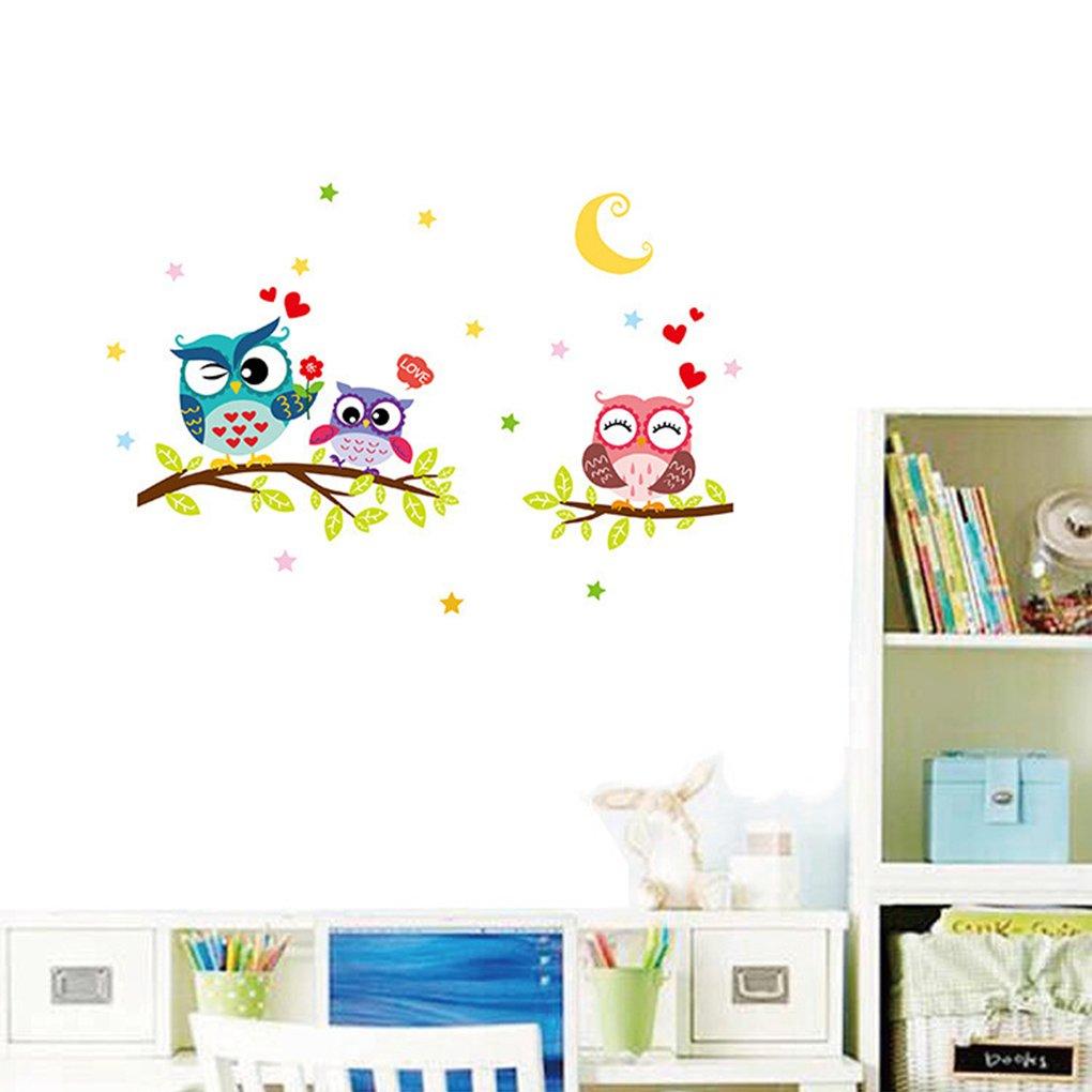 Floridivy Owl Arbre Cartoon Animaux Stickers muraux Amovibles pour Chambres denfants D/écoration Decal Bricolage Artisanat