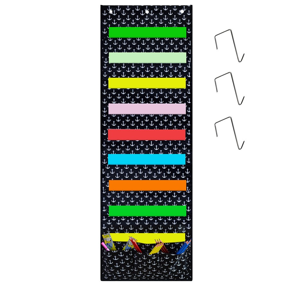 Godery Wall Pocket Chart Organizer, School Pocket Chart 9 Large Pockets 3 Small Pockets & 3 Hangers, Multi-Purpose Wall Hanging File Organizer Folder 14'' X 43'' Wall Or Over Door Mount