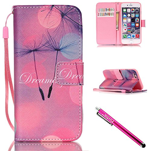 iPhone 5S Case, iPhone 5 Wallet Case, Firefish [Kickstand] PU Leather Flip Purse Case Slim Bumper Cover with Lanyard Magnetic Skin for Apple iPhone 5/5S/SE + including One Stylus-B-Dandelion (Iphone 5s Case Inserts compare prices)