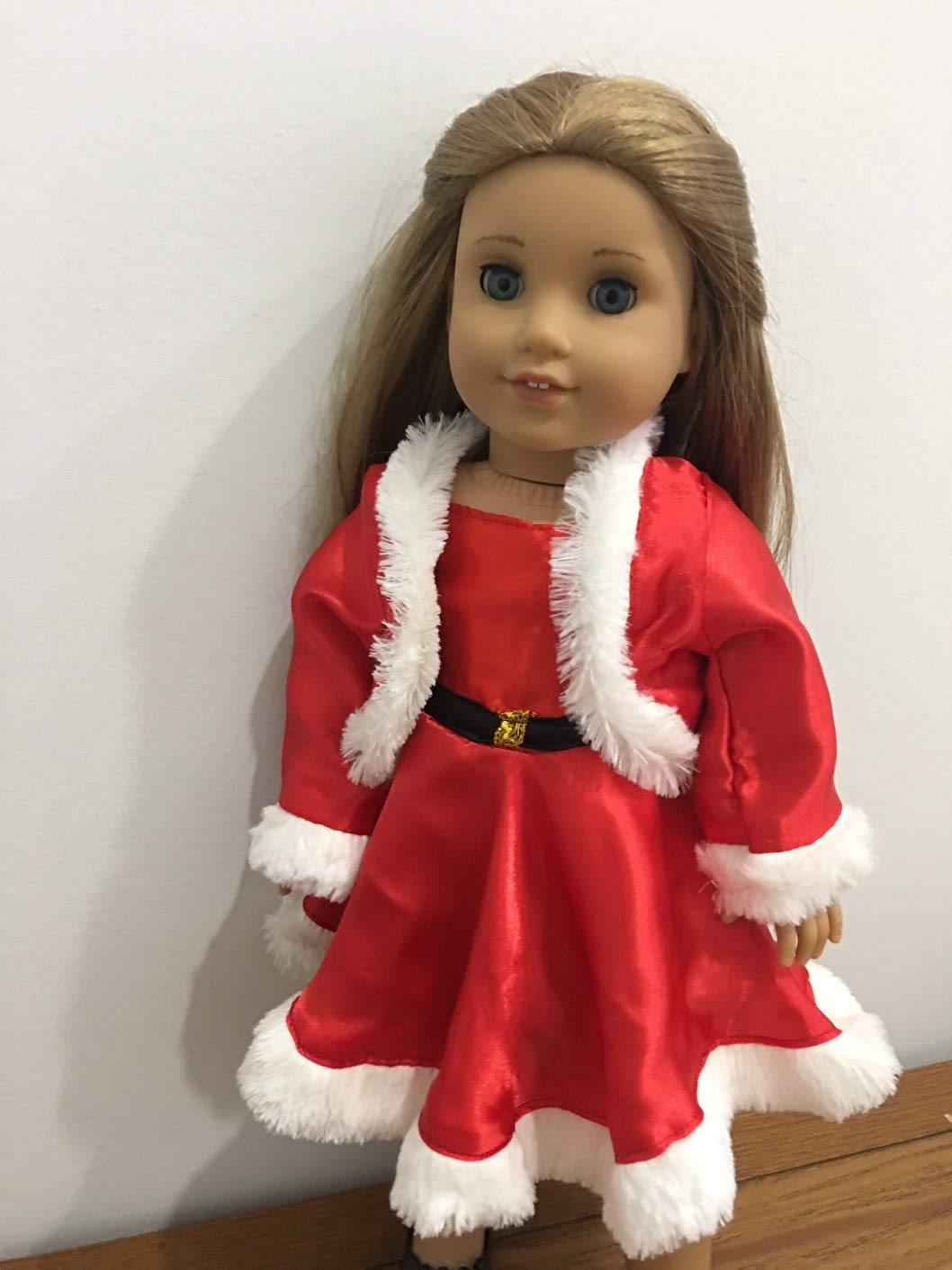 Christmas Party Santa Claus Dress Red White Fits 18' American girl Doll Clothes , Our Generation or My Life As doll