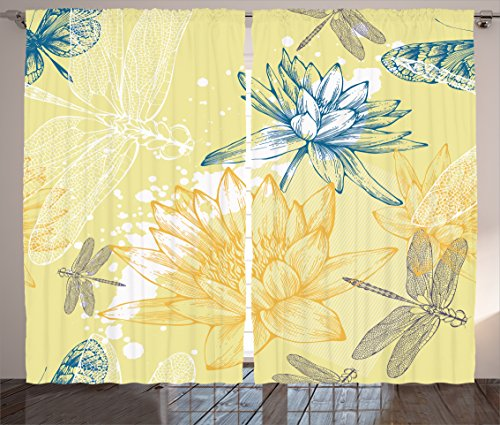 Ambesonne Country Decor Collection, Boho Style Structured Precious Plants and Spiritual Dragonflies Sketchy Illustration, Living Room Bedroom Curtain 2 Panels Set, 108 X 84 Inches, Yellow Blue
