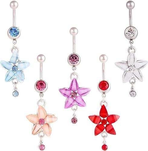Pink Multi CZ 14G Belly Ring Body Jewellery