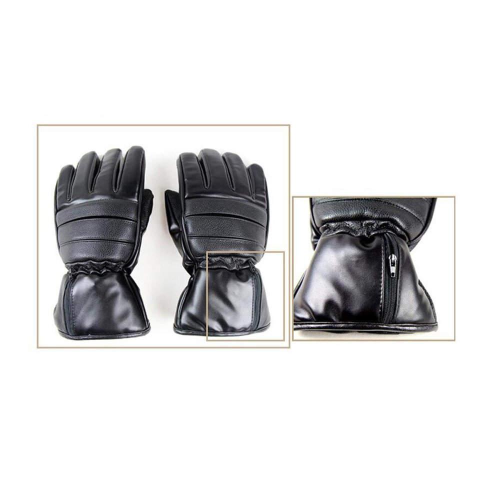 GOODKSSOP 1 Pair PU Leather Windproof Winter Ski Outdoor Work Warmer Gloves Cycling Motorcycle Bicycle Electric Heated Hands Glove with 3000mAh Rechargeable Battery (Black, M) by GOODKSSOP (Image #6)