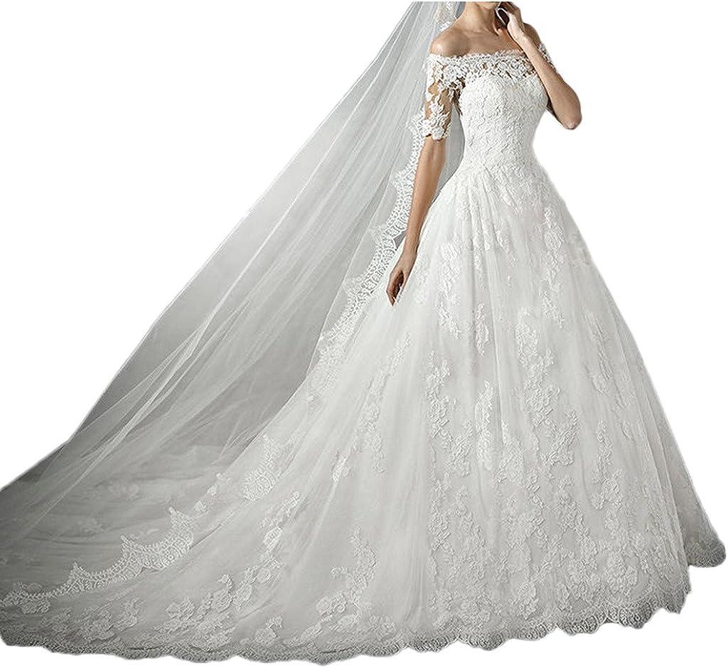 Milano Bride Hochwertig Spitze Hochzeitskleider Brautkleider Kurzarm mit  Schleppe