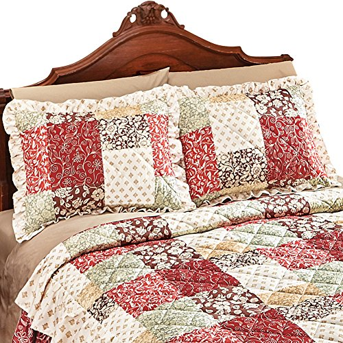- Collections Etc Worthington Patchwork Quilted Ruffled Pillow Sham, Red