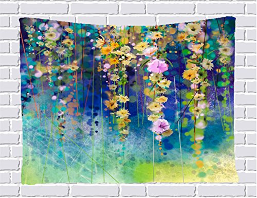 Watercolor Flower Decor Collection Tapestries, Vines Flowers over Bokeh Summer Garden Watercolor Wall Hanging Tapestry for Bedroom / Living Room / Dorm Accessories 80 X 60 Inches (Green)