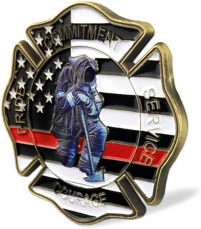 Firefighter Prayer Coin Thin Red Line US Flag Challenge Coin