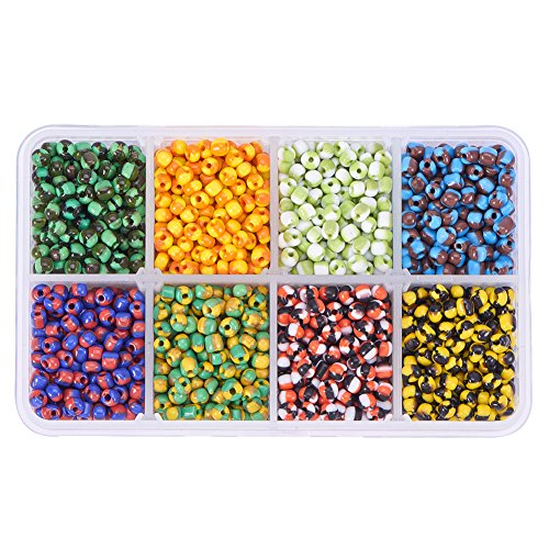 PandaHall Elite About 2000 Pcs 6/0 Multicolor Beading Glass Seed Beads Double Colors Flower Round Pony Bead Mini Spacer Czech Beads Diameter 4mm for Jewelry Making