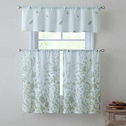 Estela 3 Piece Kitchen Curtain Set Floral Decorative Design Semi Sheer Light And Privacy Without Compromise 100 Polyester Tier Pair 28x36