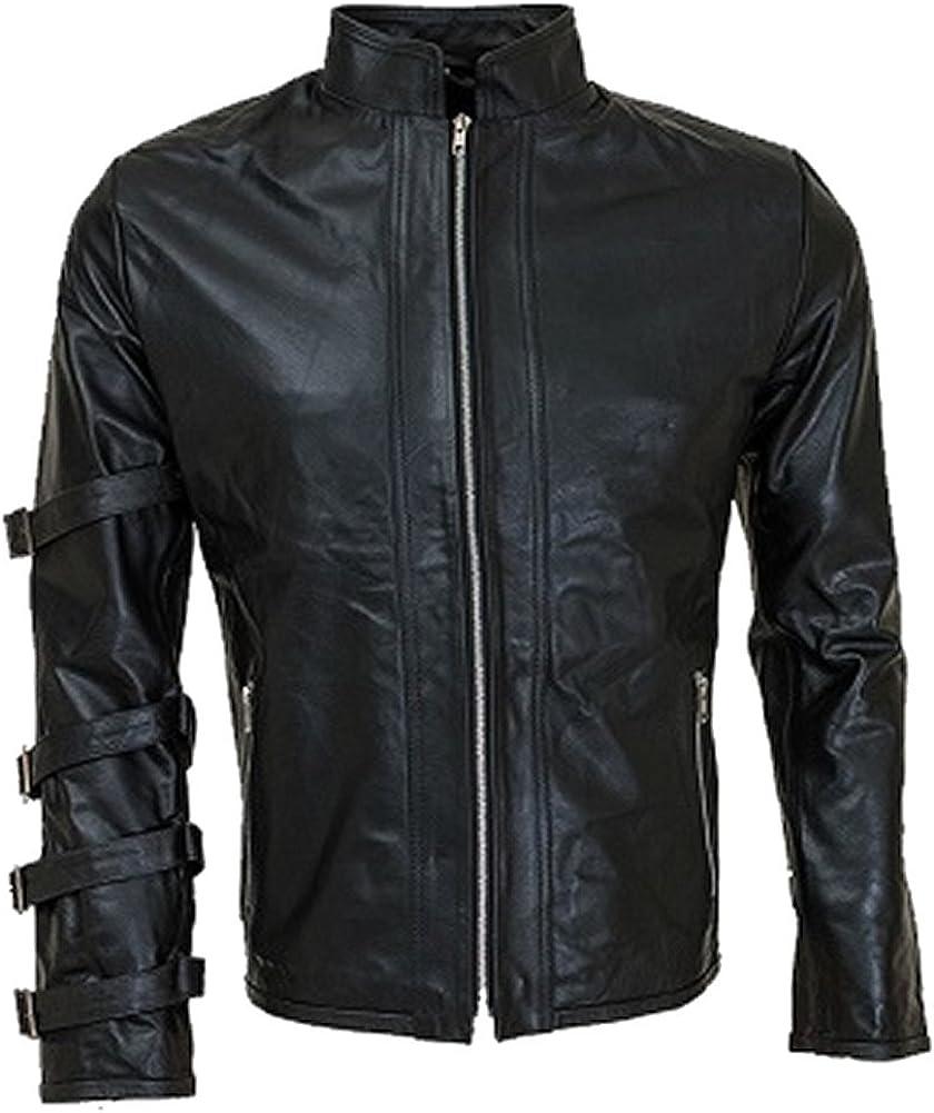 Sleekhides Mens Fashion Leather Jacket with Stylish Sleeve Straps