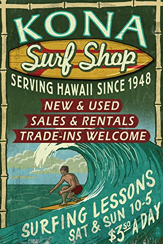 Kona, Hawaii - Surf Shop Vintage Sign (24x36 SIGNED Print Master Giclee Print w/ Certificate of Authenticity - Wall Decor Travel Poster) by Lantern Press